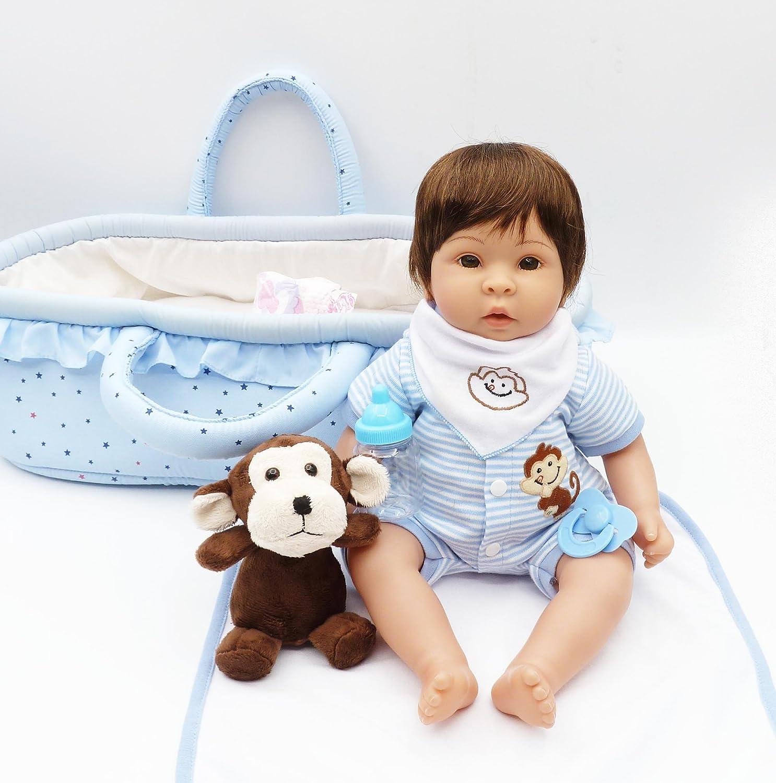 チャームベビー16インチ/ 40.6 CMソフトGentle TouchビニールHead &手足、ソフトボディBaby Girl Realistic Looking Newborn Doll with Carrycot and a little monkeyコンパニオンの成長   B07BBH8K64