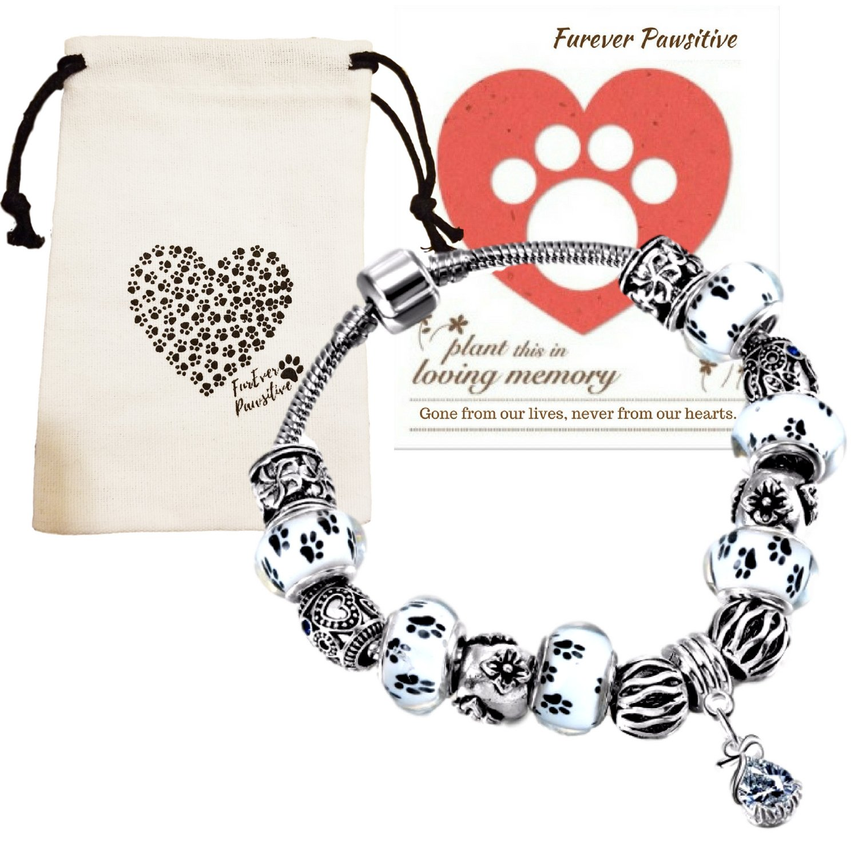 Dog Pet Memorial Bracelet Gifts | Remembrance Keepsake Paw Print Heart Pink Beads Charm Jewelry, Love Dog Themed Bag, Flowering Pet Sympathy Card (Black & White Paw Print Glass Beads)