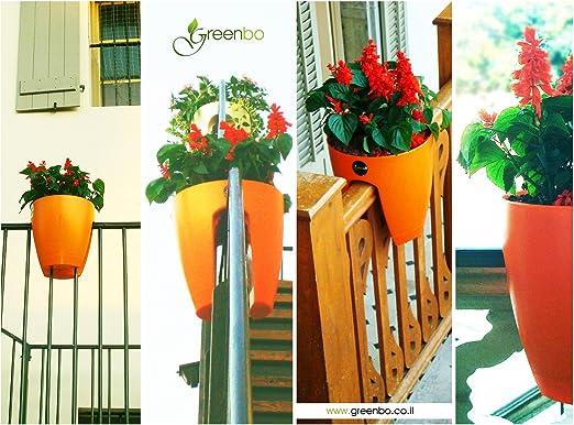 Macetas para Colocar en Barandillas - Para Balcones y Vallas de Jardín - Mediana, Naranja: Amazon.es: Jardín