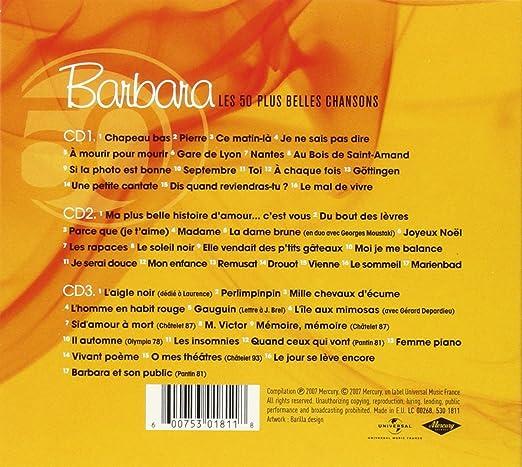 Les 50 Plus Belles Chansons Barbara Amazones Música