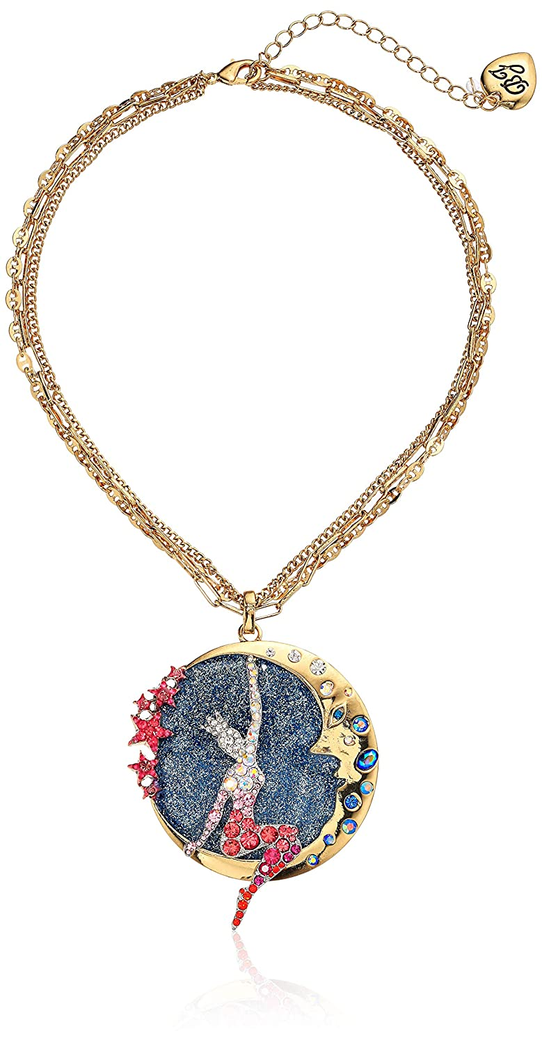 Pink One Size Betsey Johnson Jewelry Womens Moon and Showgirl Round Pendant Necklace
