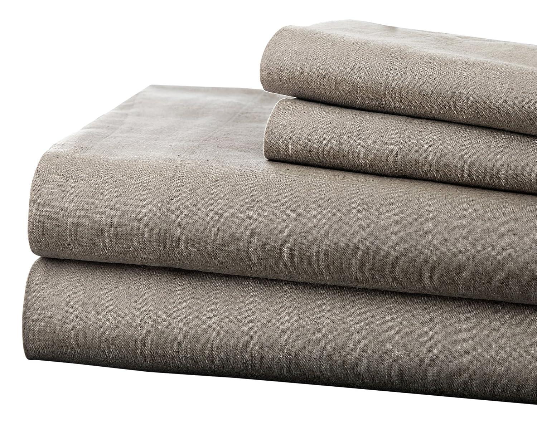 Pacific Coast Textiles Linen & Cotton Sheet Set King, Platinum, 4-Piece Amrapur Overseas Inc. 1LINCTNG-PLT-KG