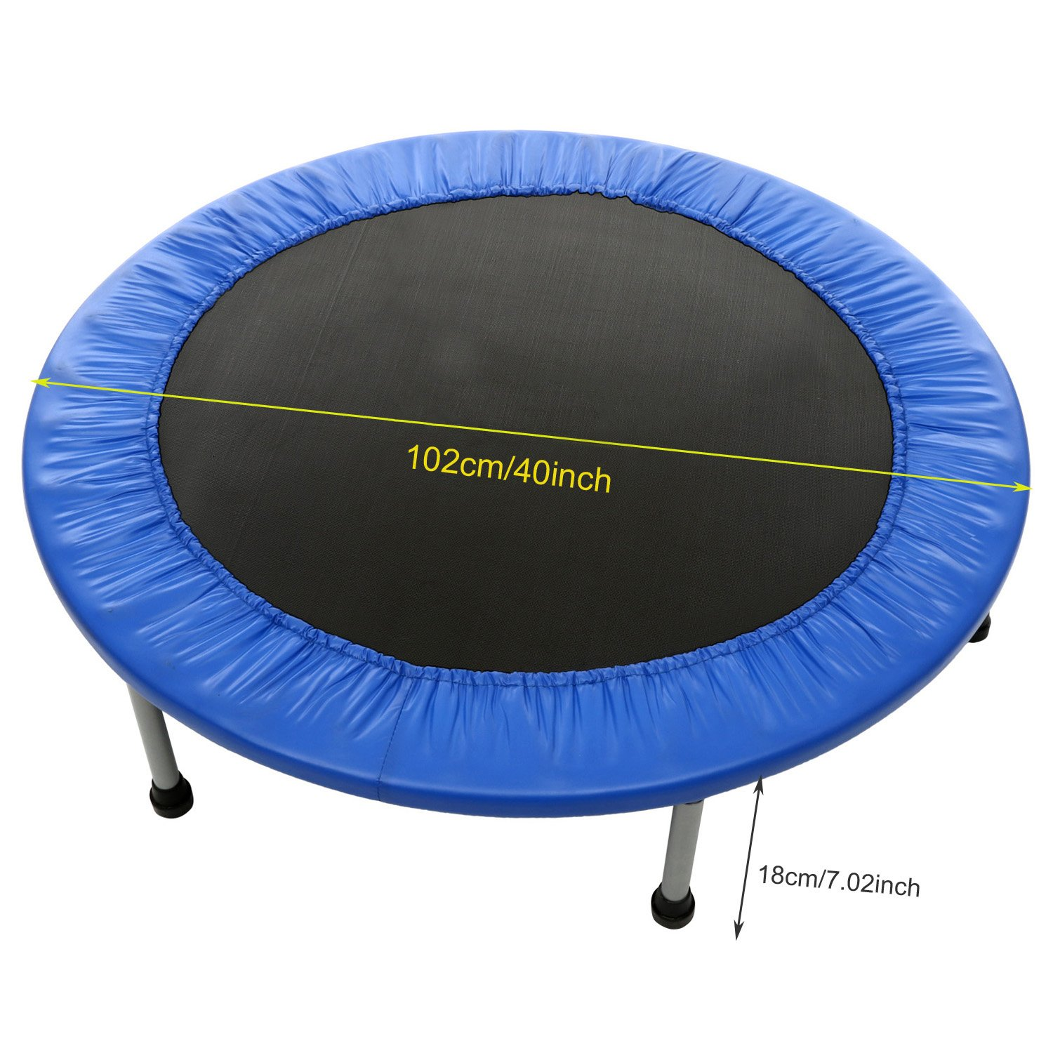 40 inch Rebounder Trampoline Max Load 220lbs Indoor Garden Workout Cardio Training Mini Trampoline for Gymnastic,Ultrasport, Exercise with Safety Pad
