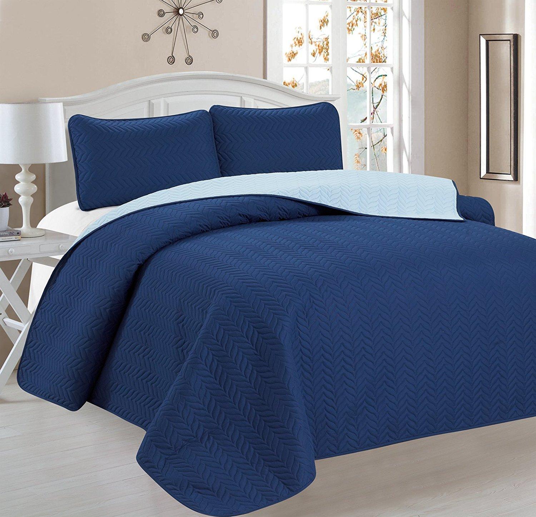 Deluxe Chevron Design Reversible 3pc Coverlet Quilt Set BedSpread – KING Size – Blue / Light Blue