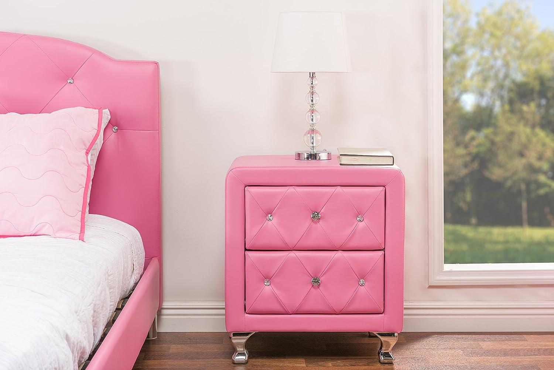 Baxton Studio Stella Crystal Tufted Pink Leather Modern Nightstand