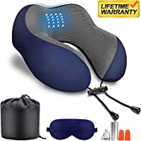 Travel Pillow 100% Pure Memory Foam Neck Pillow,Comfortable&Breathable Cover,Machine Washable,360° Neck&Head Support Pillow Travel Kits with 3D Sleep Mask/Earplugs/Luxury Bag,Great for Airplane/Travel