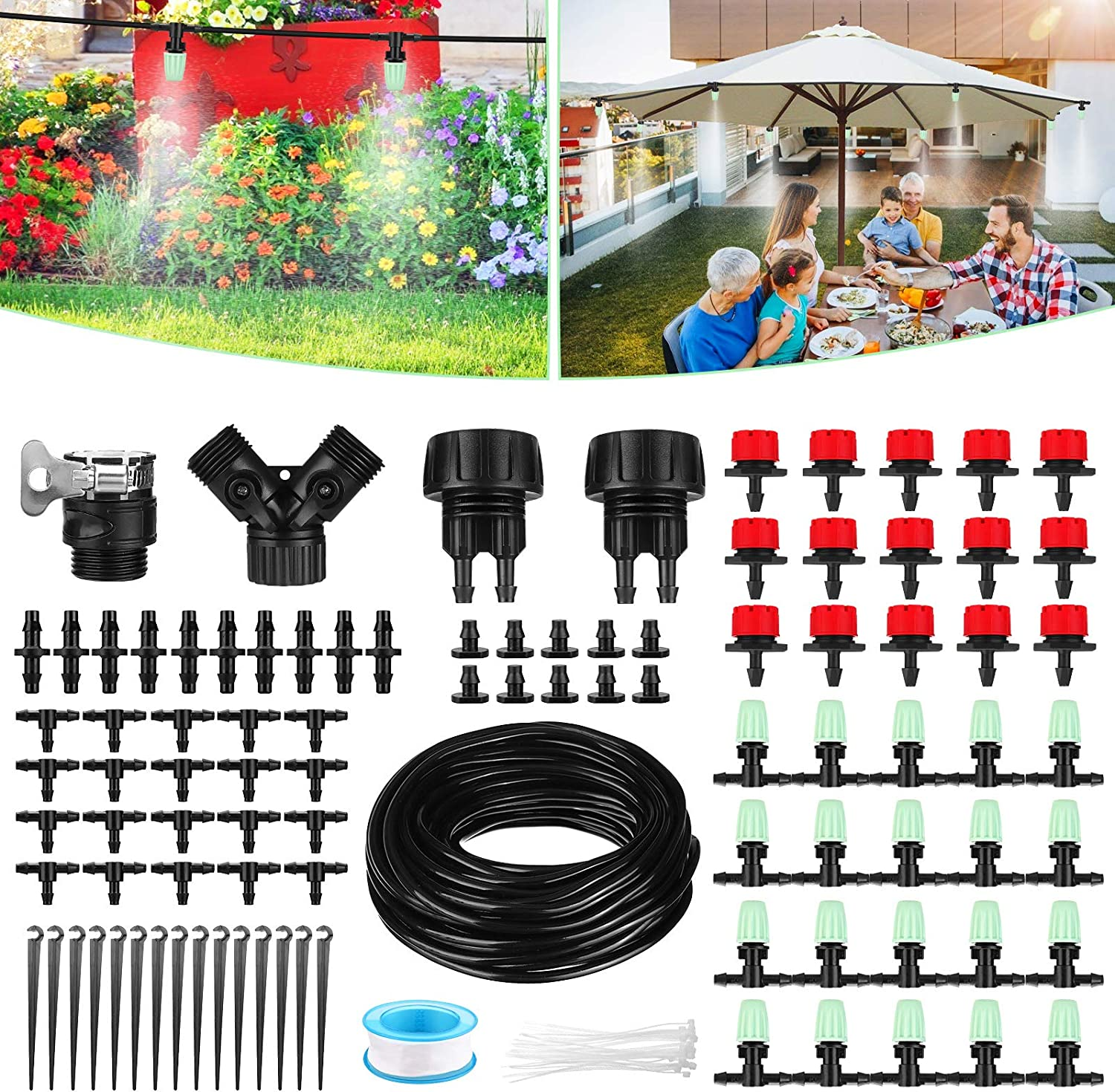Drip Irrigation System, NASUM 82Ft/25M Drip Irrigation Kit with Adjustable Misting Nozzles& Drippers Automatic DIY Garden Irrigation System for Flower Bed, Patio, Greenhouse Gifts for Father's Day