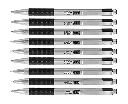 Zebra F-301 Ballpoint Retractable Pen, Black Ink, Fine Point Tip, 9