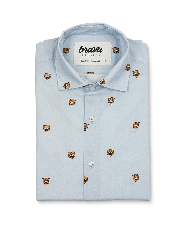TALLA 3XL. Brava Fabrics - Camisa Hombre Manga Larga Estampada - Camisa Azul para Hombre - Camisa Casual Regular Fit - 100% Algodón - Modelo Tigers