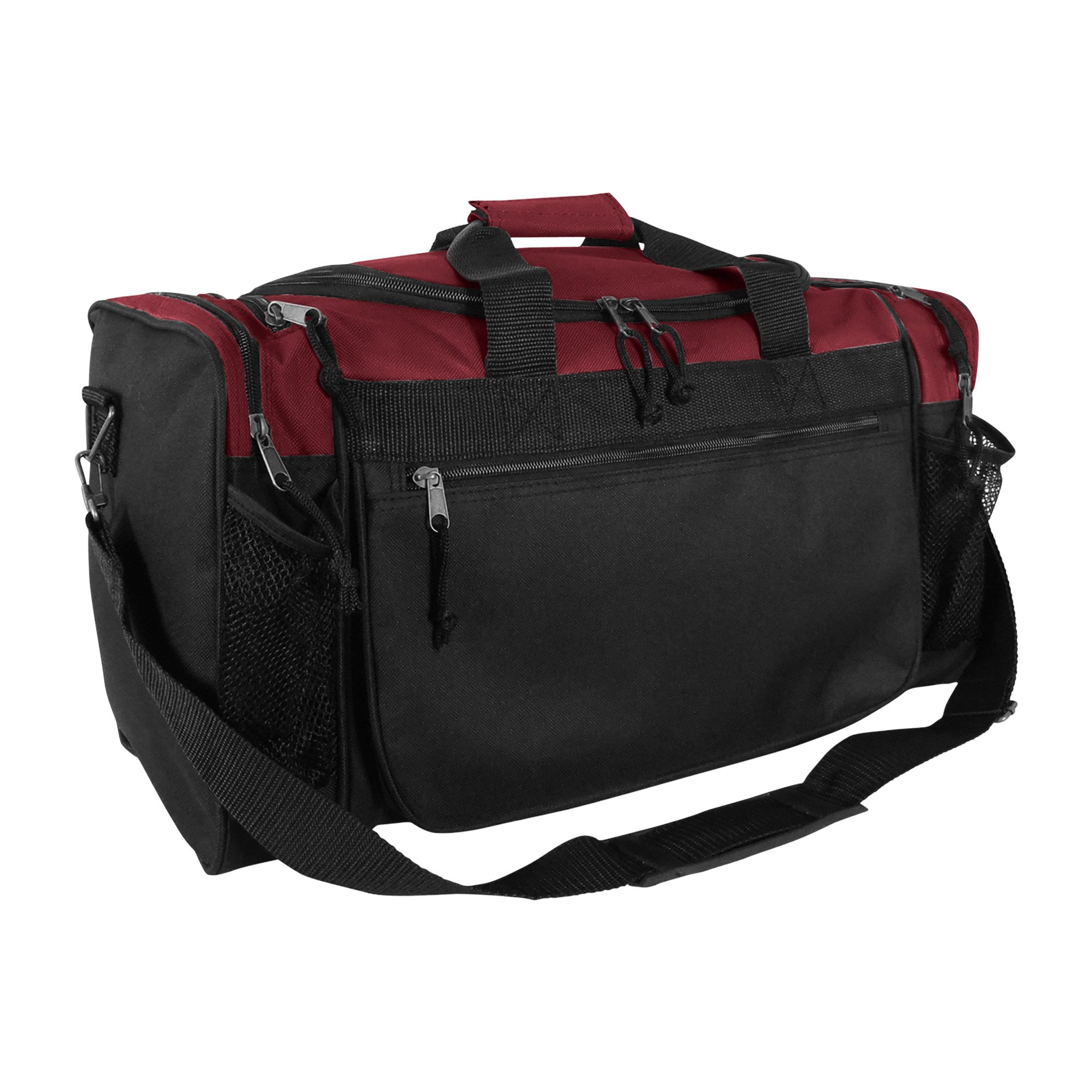 Dalix 20 Inch Sports Duffle Bag with Mesh and Valuables Pockets, Maroon