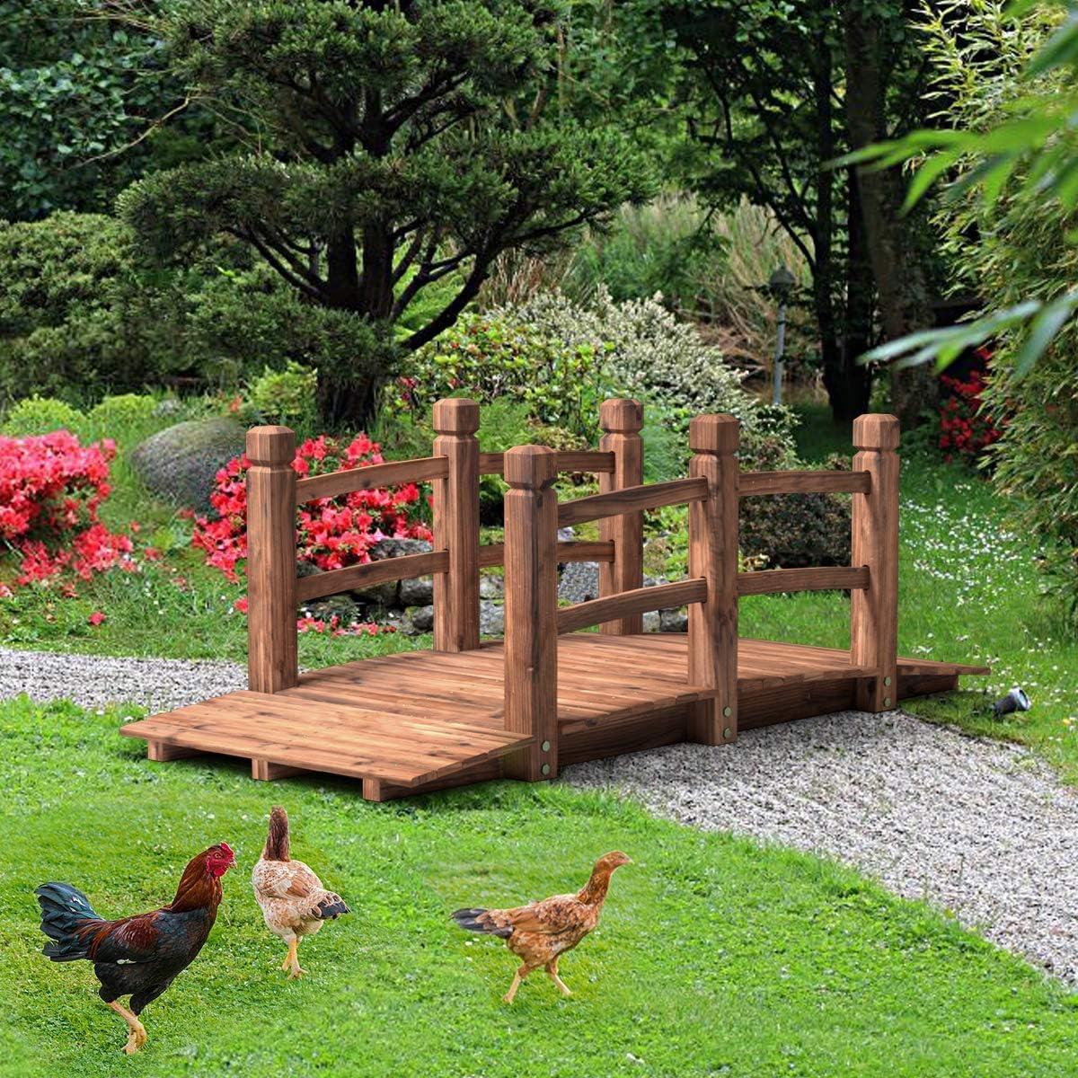 Amazon Com Happygrill Wooden Garden Bridge Stained Finish Decorative Pond Bridge 5ft Length Garden Outdoor