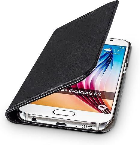 Wiiuka Echt Ledertasche Travel Für Samsung Galaxy S7 Mit Kartenfach Extra Dünn Tasche Schwarz Leder Hülle Kompatibel Mit Samsung Galaxy S7 Elektronik