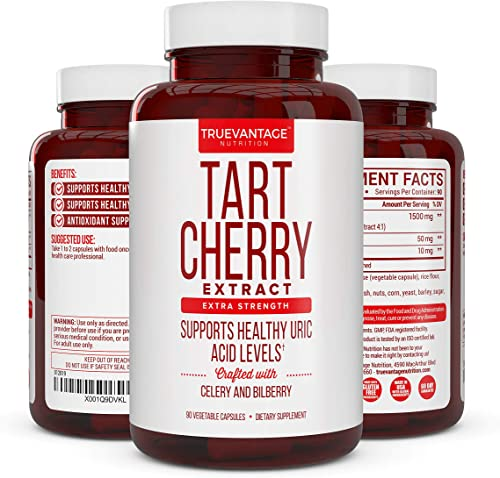 Tart Cherry Extract 1500mg Plus Celery Seed and Bilberry Extract -Anti Inflammatory, Antioxidant Supplement, Uric Acid Support, Muscle Recovery and Joint Pain -90 Veggie Capsules