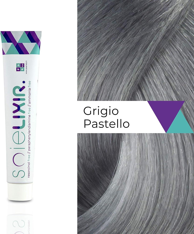 Soielixir Tinte Permanente para Cabello en crema SIN Resorcinol, parafenilendiamina y amoniaco - 93 colores - 100 ml - Gris Pastel