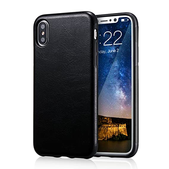 wholesale dealer 38da7 a2fb8 for iPhone Xs Black Leather Case, for iPhone X Case, technext020 Ultra Slim  Fit iPhone 10 Artificial PU Synthetic Leather Cover Shock Resistance ...