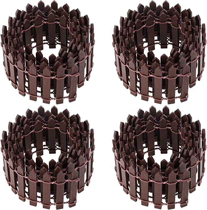 Chinco 4 Pieces 35 Inch Miniature Fairy Garden Ornament Fence Wood Picket Fence for Dollhouse Home Garden Plant Pot DIY Diorama Project (Brown)