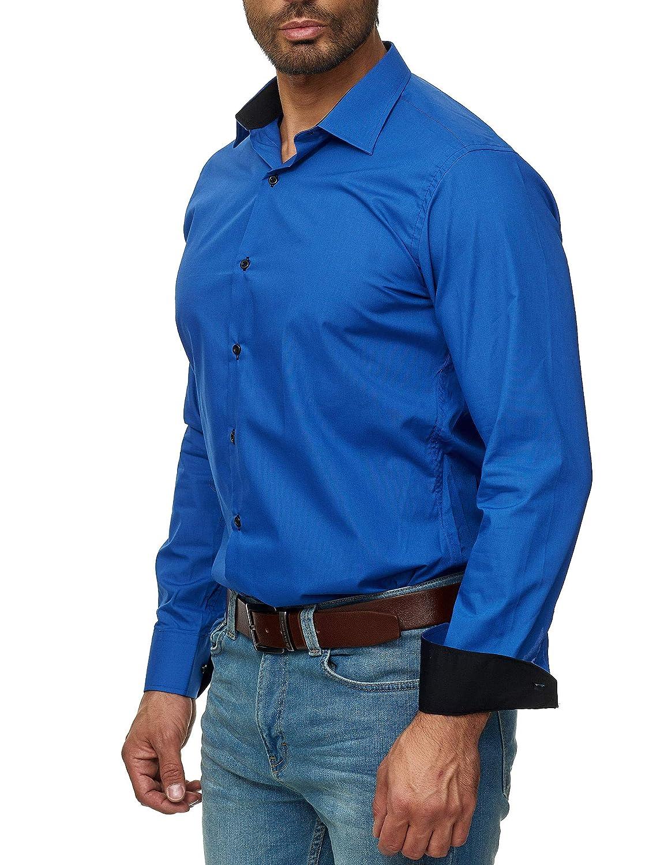 6XL JS FASHION Chemise pour Homme Slim-Fit Repassage Facile EU-Size S