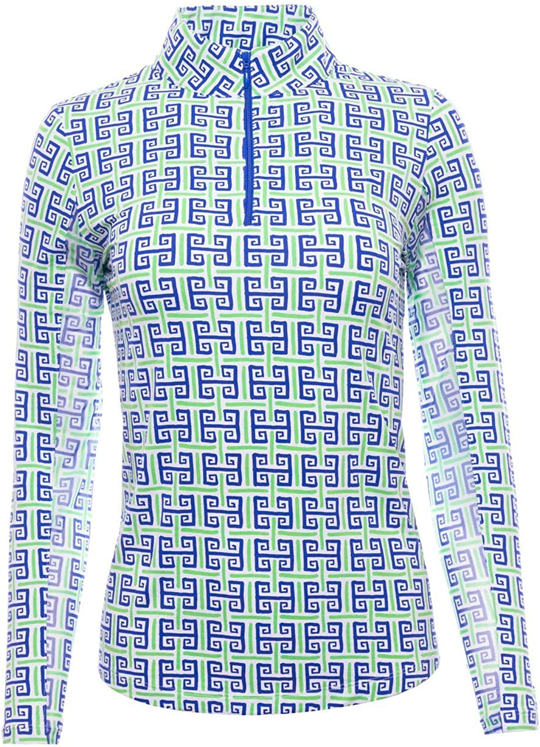 IBKUL Women's Sun Protective UPF 50+ Cooling Geo Key Print Long Sleeve Mock Neck - 10512 Navy/Green Geo Key S