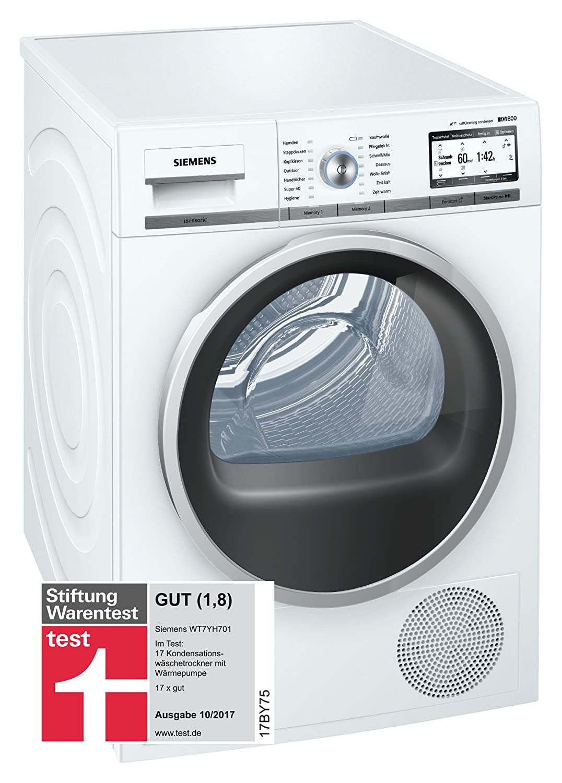 Siemens WT7YH701 Libera installazione Carica frontale 8kg A+++-10% Acciaio inossidabile, Bianco asciugatrice