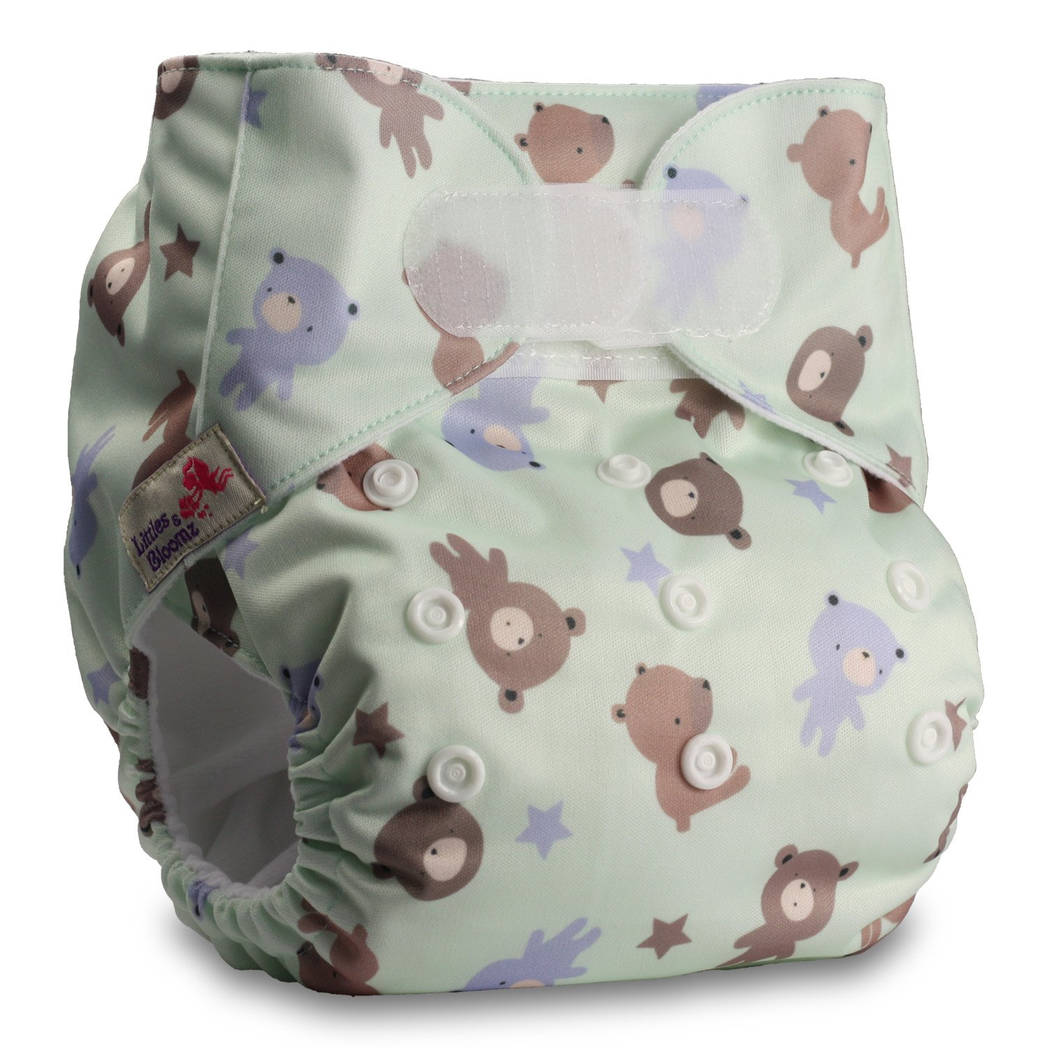 Littles & Bloomz, Reusable Pocket Cloth Nappy, Fastener: Hook-Loop, Set of 1, Pattern 31, With 2 Bamboo Inserts