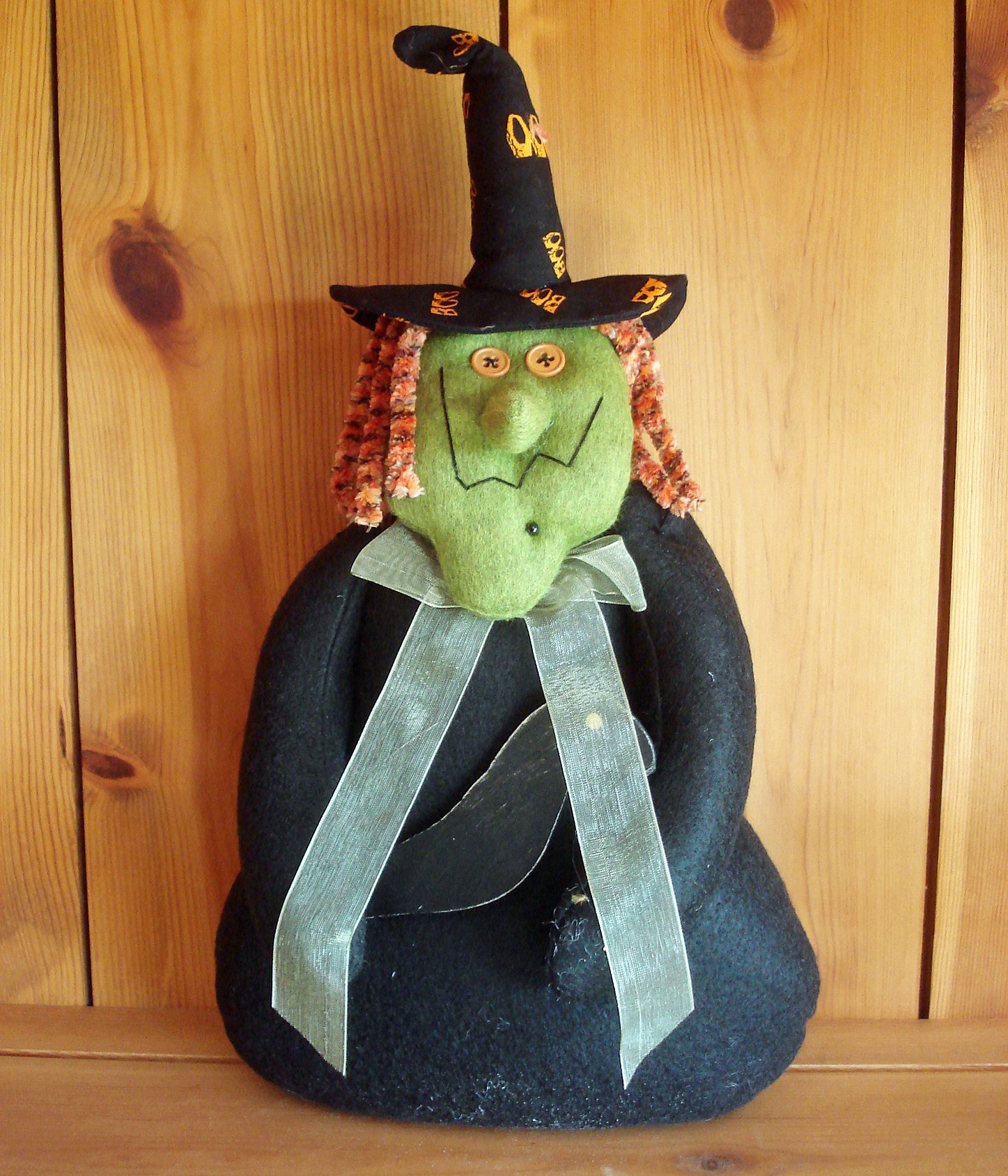Halloween Decorations - Green Witch with Raven - Plush Halloween Decoration - Made in America