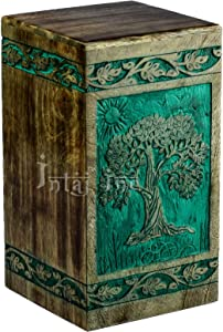 INTAJ Tree of Life Engraved Rosewood Cremation Urn for Human Ashes, Adult Large Wooden Keepsake Urn for Ashes, Handmade Funeral Urn, Wood Urn Box (Medium - 150 lbs, Teal Green)