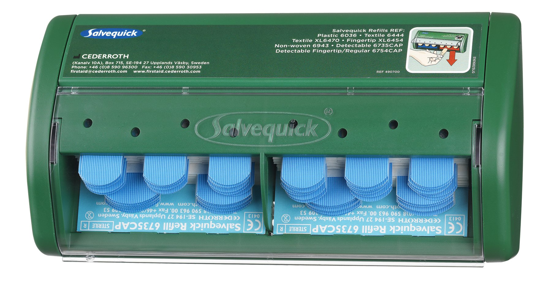 Cederroth 490750 Salvequick Detectable Adhesive Bandage Dispenser, Blue