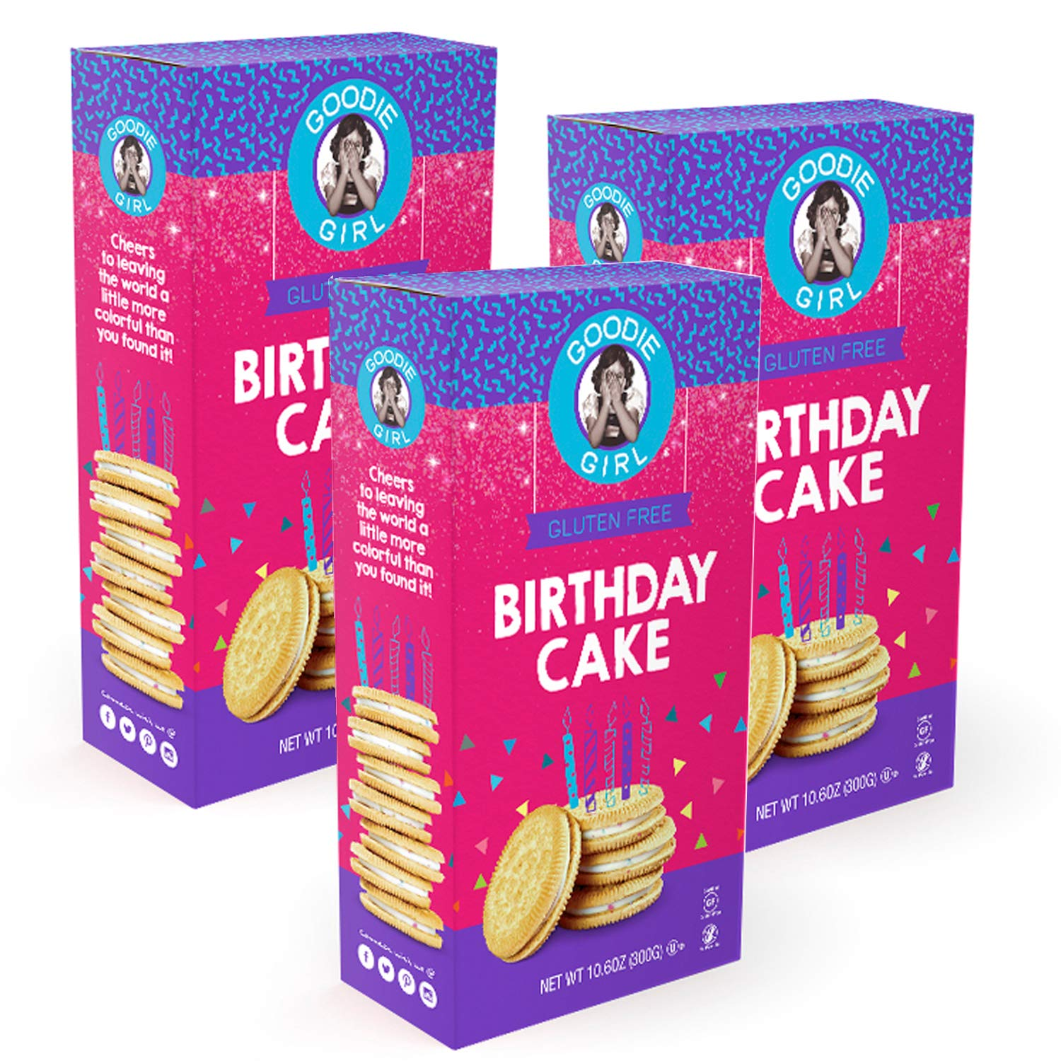 Goodie Girl Gluten Free Cookies, Birthday Cake Sandwich Cookies, Gluten Free Cookies Peanut Free Kosher Delicious Snack Cookies (10oz Box, Pack of 3)
