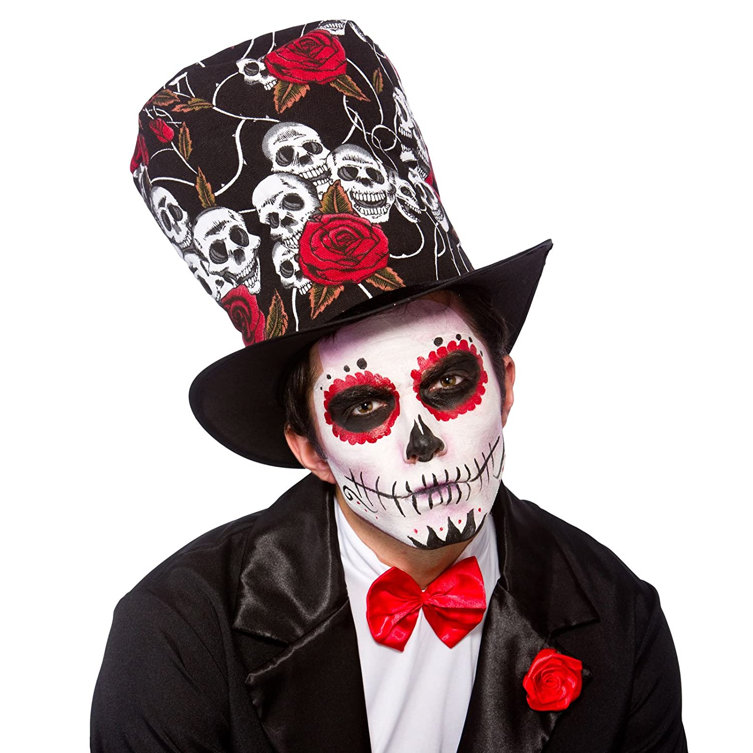 f22a7b8462f Adult Day Of The Dead Top Hat Fancy Dress Party Accessory Skull Voodoo  Halloween  Amazon.co.uk  Clothing