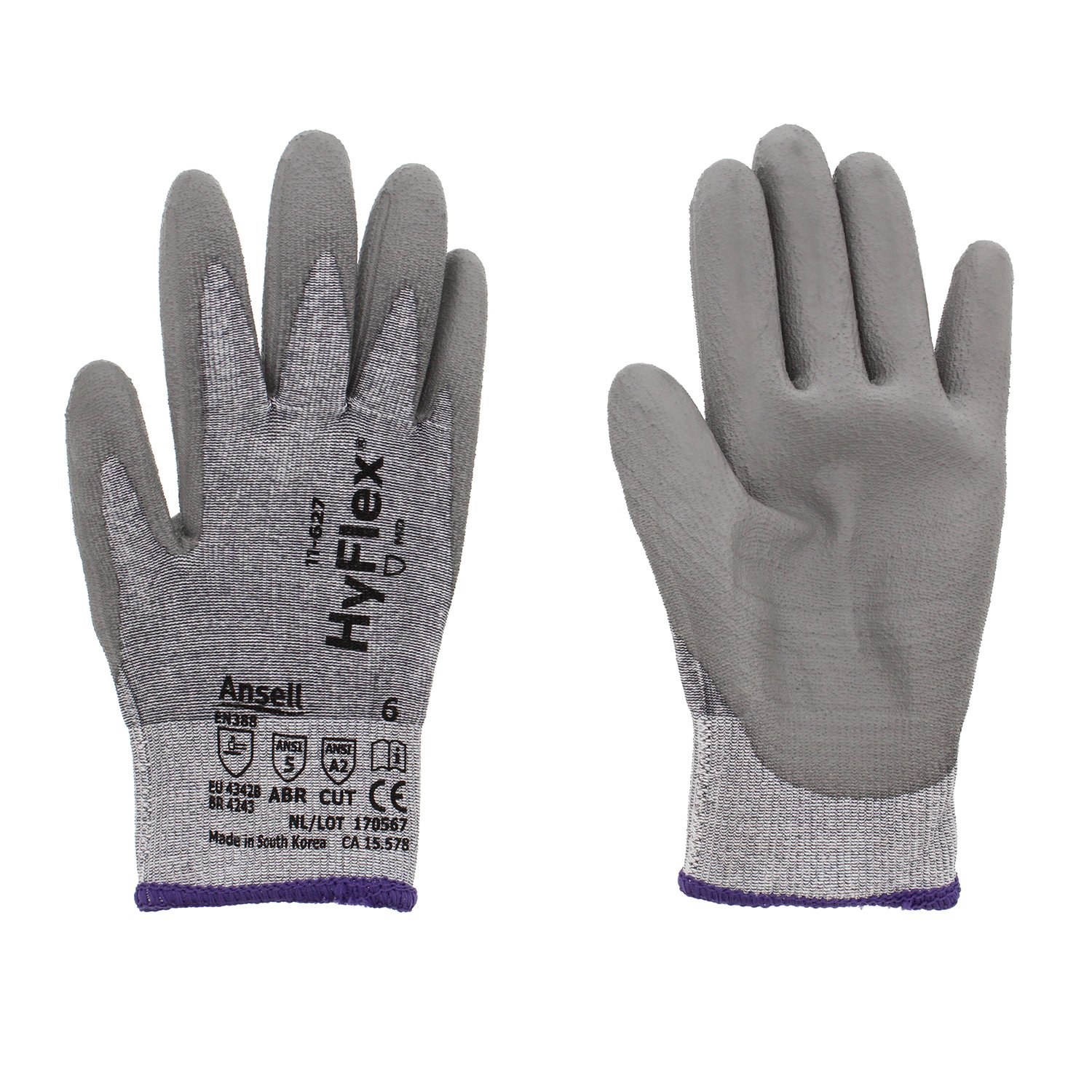 Ansell HyFlex 11-627 Lycra Light Duty Safety Glove with DSM Dyneema Technology, Abrasion/Cut Resistant, Size 6, Gray (Pack of 12 Pair)