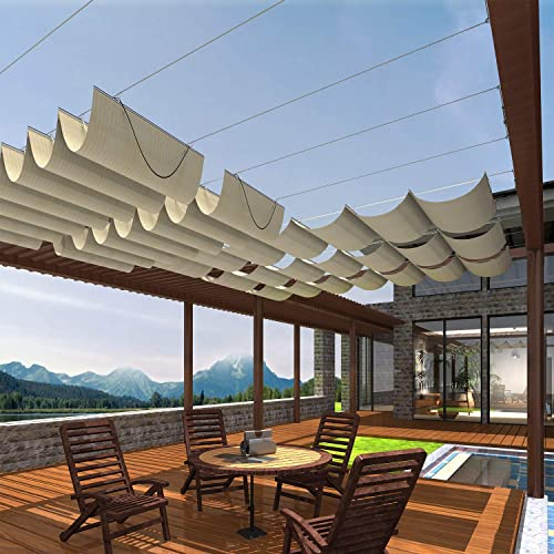 Patio 7 Wx40 L Beige Upgraded Retractable Pergola Canopy Replacement Shade Cover Slide on Wire Canopy Pergola Shade Cloth Awning Roof Wave Shade Deck Trellis Porch