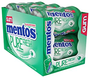 Mentos Pure Fresh Sugar-Free Chewing Gum with Xylitol, Spearmint, 50 Piece Bottle (Bulk Pack of 6)