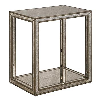 Amazon.com: Lujosa mesa final de cristal con espejo ...
