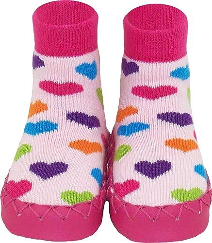 3366352cf988b Konfetti Chaussons Suédois Motif Coeurs pour Fille - Chausson Chaussette  Style Mocassin pour Enfant Bébé