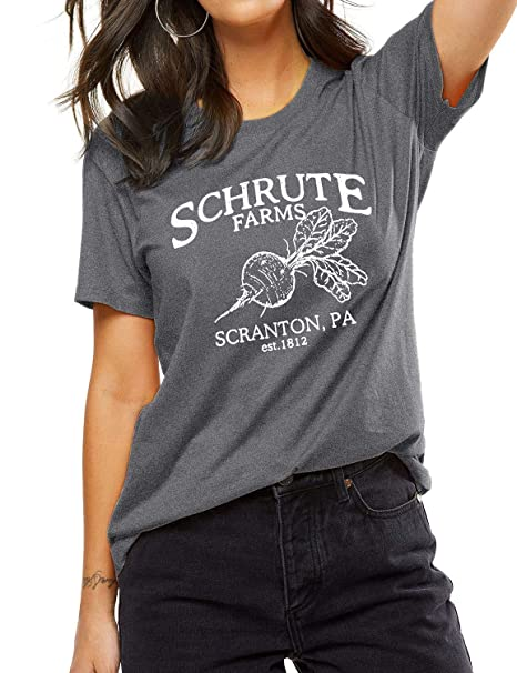 d4bb522a OUNAR Schrute Farms Shirt Graphic Tee for Women Dunder Mifflin The Office  Fan Gift Cute Beets. Roll over image to ...