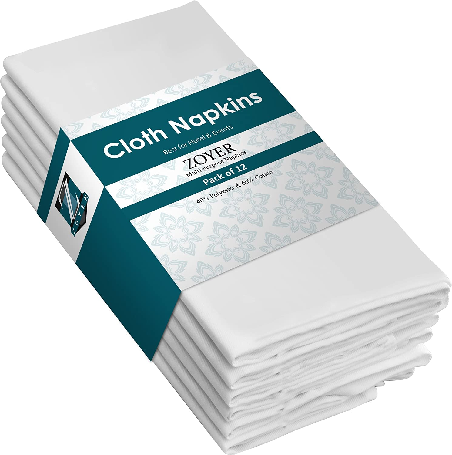 Zoyer Cotton Dinner Napkins - 12 Pack (18x18 Inch) Soft Restaurant Napkins Durable Hotel Quality Ideal for Events - White ZB0011