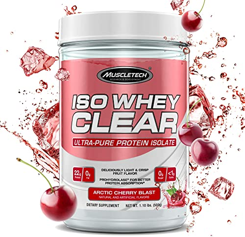 MuscleTech Iso Whey Clear Hydrolyzed Protein Drink Mix Powder, Ultra-Pure Isolate, Light and Refreshing, Keto Friendly, Arctic Cherry Blast, 22 Grams Protein, 1.1 Pounds 19 Servings