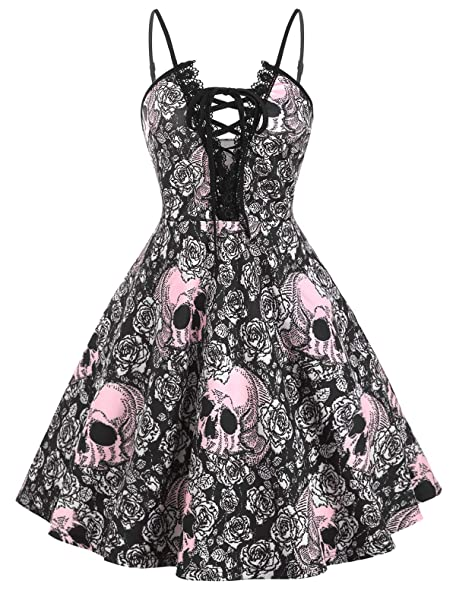 Rose GAL Women\'s Plus Size Halloween Skull Print Lace Up Lace Trim Dress