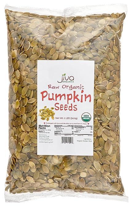 Jiva Organics Organic Pepitas / Pumpkin Seeds (Raw, Sproutable) - 2 Pound Bag