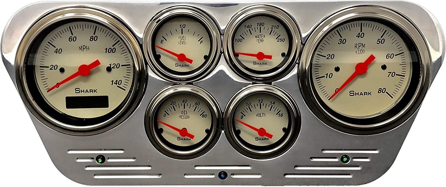 Compatible Ford Car 1953 1954 1955 Ford Truck 2 Gauge Dash Cluster Quad Style GPS 5 Black Dolphin Gauges
