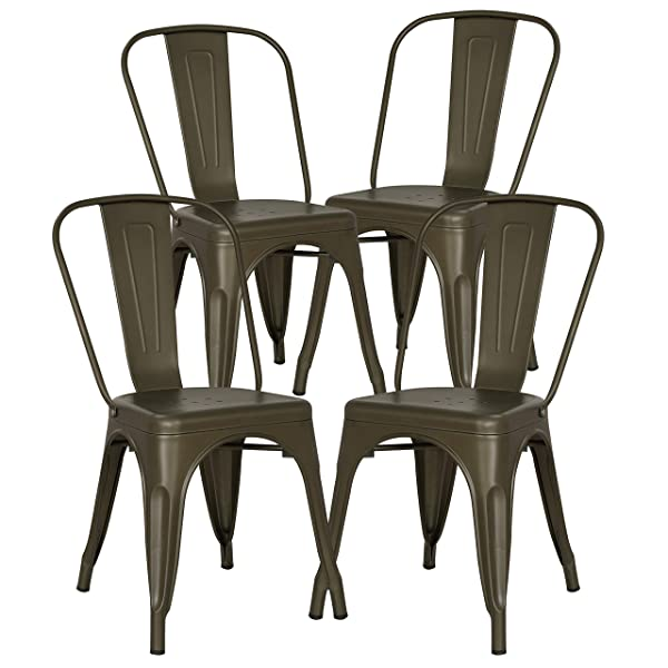 POLY & BARK EM-112-BRZ-X4 Poly and Bark Trattoria Side Chair in Bronze Set of 4