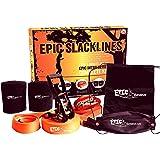 "Epic Slacklines Set | Complete Slackline Kit (Size 50 Ft X 2""), Training Line, Safety Ratchet & Tree Protectors, Easy & Fast 5 Min Setup, Best For Family Outdoor Fun, Portable Carrying Case"