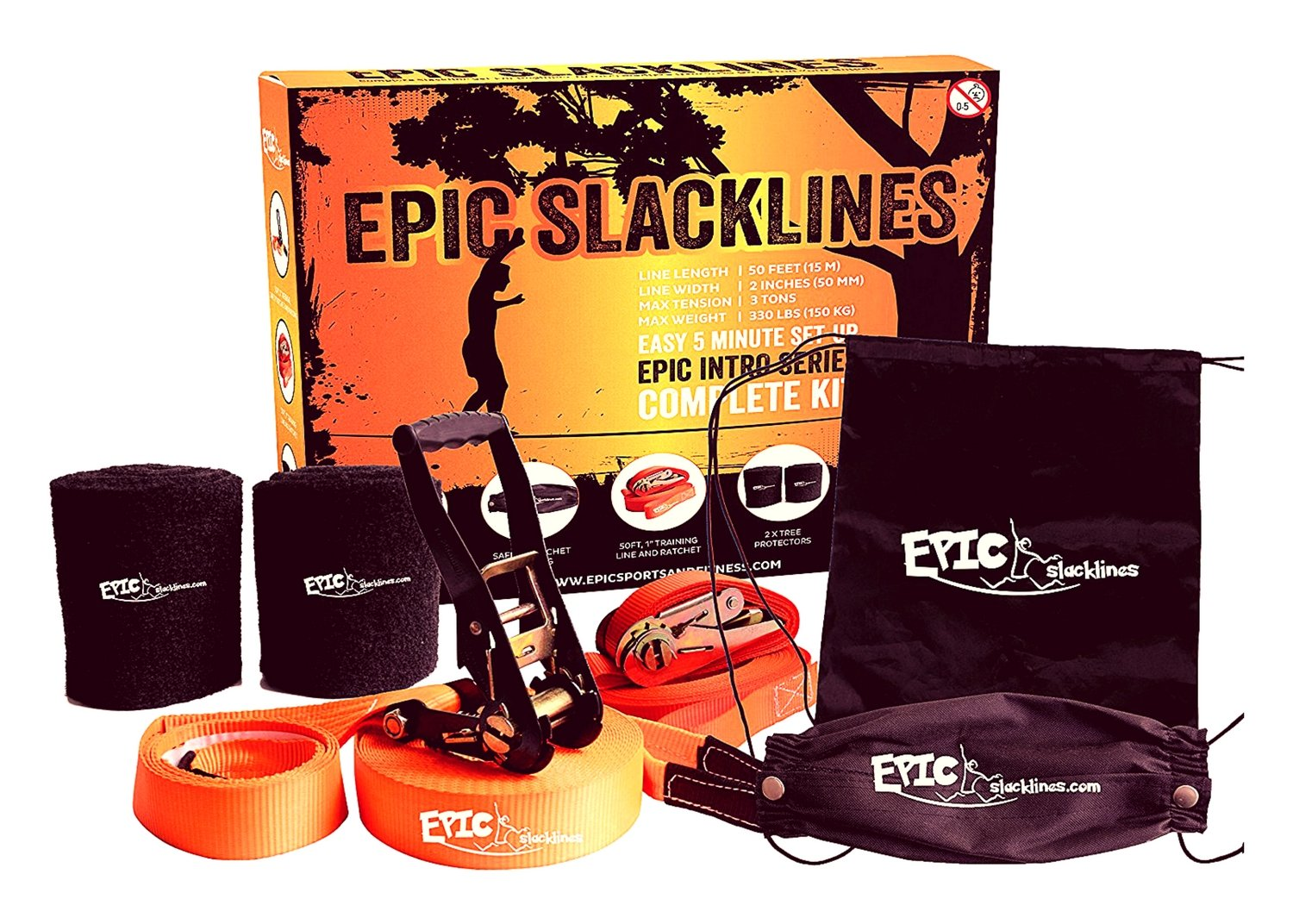 "EPIC SLACKLINE Set | Complete Slackline Kit (Size 50 Ft X 2""): Training Line, Safety Ratchet & Tree Protectors, With Portable Carrying Case 