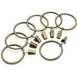 Iron Metal Curtain Clip Rings 2 Inch Interior Diameter Set of 14, Bronze Antiqued