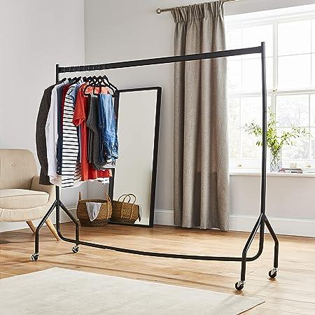 Barra extrafuerte de 182,88 cm largo y 152,4 cm, para colgar ropa, color negro