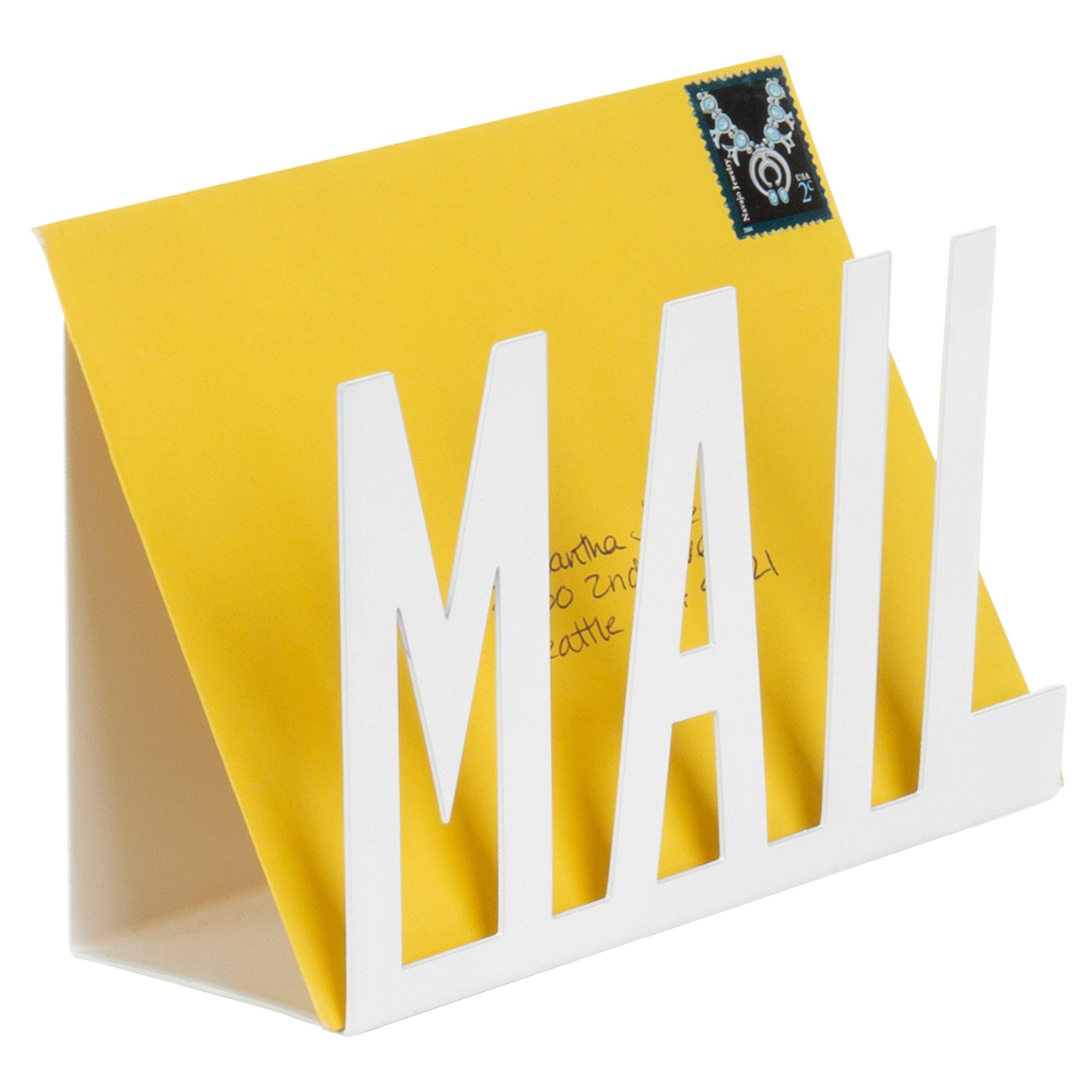MyGift White Metal Desktop Cutout MAIL Letter Holder