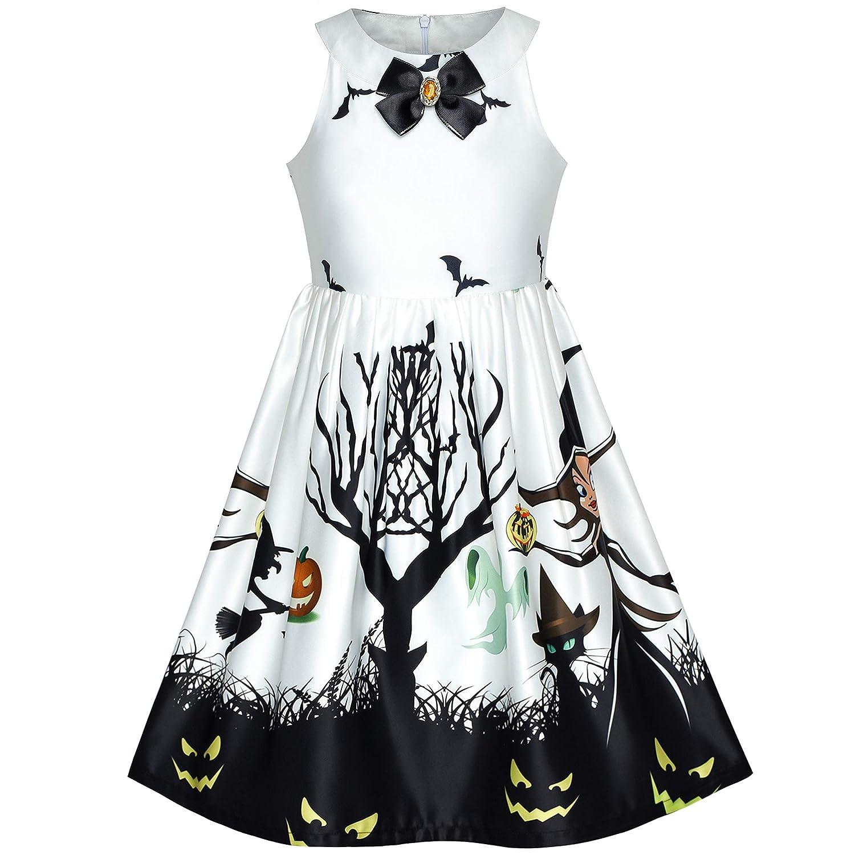 Girls Dress Halloween Witch Bat Pumpkin Costume Halter Dress Age 7-14 Years