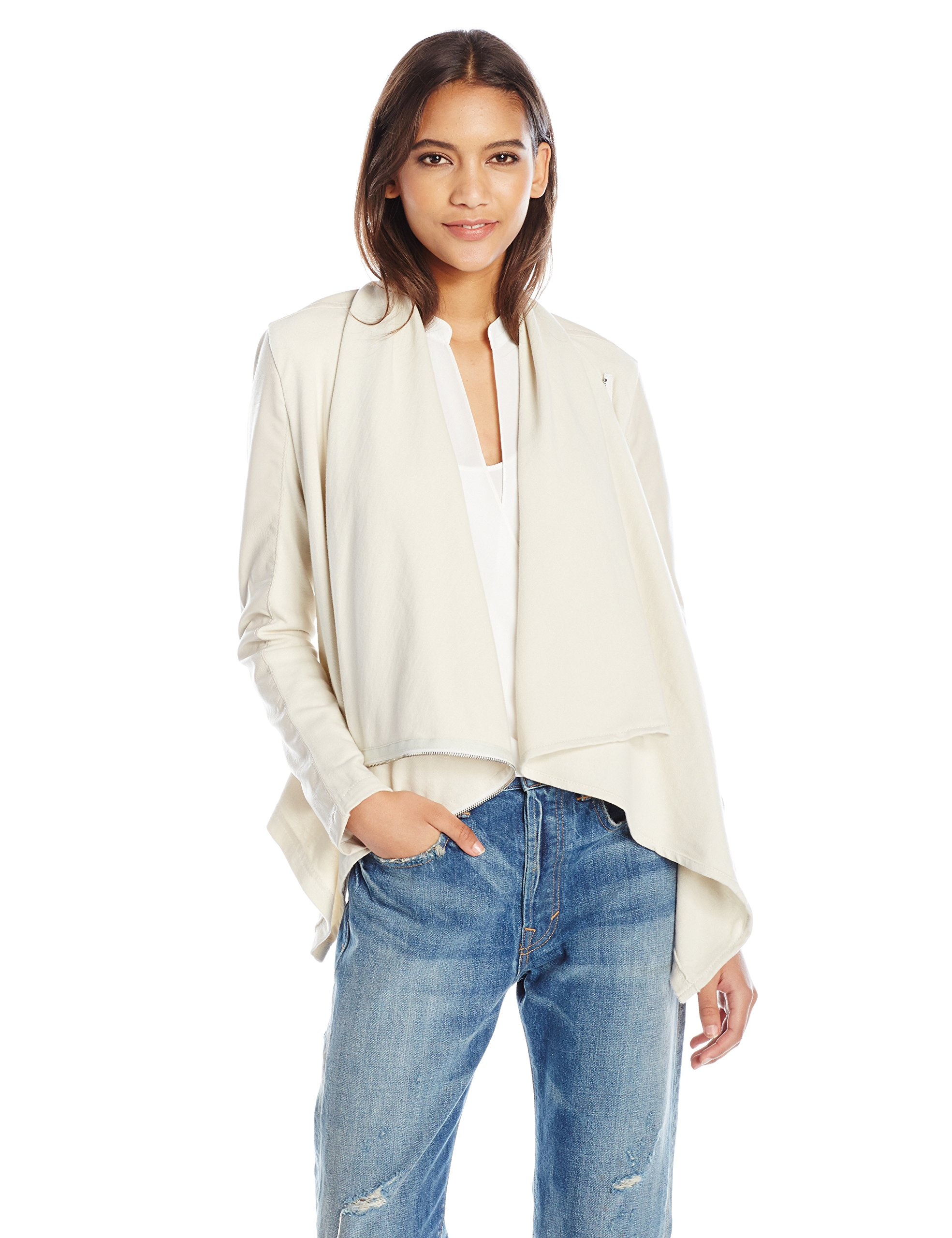 [BLANKNYC] Women's Faux-leather and Knit Jacket, Beige, Large