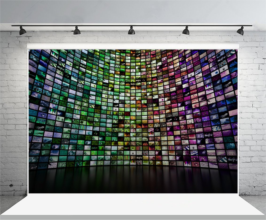 Laeacco 10x6.5ft Vinyl Backdrop Photography Background Abstract Giant Multimedia Video and Image Wall Colorful Mosaic Seamless Texture Grunge Background Show Party Interview Video Record Shooting