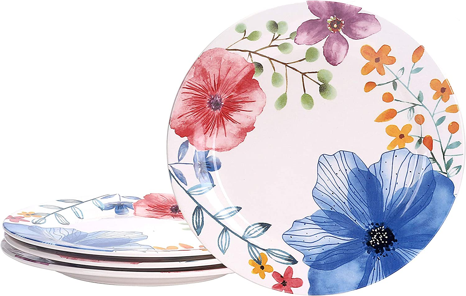 Bico Flower Carnival Ceramic 11 inch Dinner Plates, Set of 4, for Pasta, Salad, Maincourse, Microwave & Dishwasher Safe